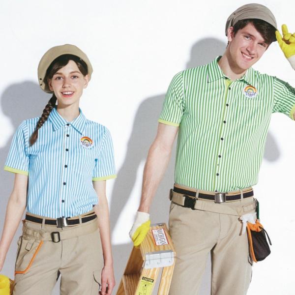 63435 ストライプニットシャツ グリーン 鮮やかなストライプで個性的な半袖シャツ 清掃、飲食店、コンビニ、売店 スイーツショップのスタッフ制服に