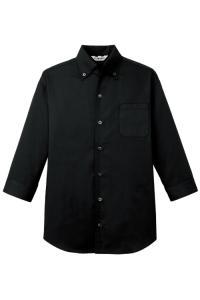 美しい襟元★七分袖ボタンダウンシャツ【Unisex】(ブラック)
