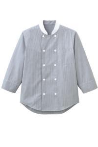 おしゃれストライプ 七分袖コックシャツ【ユニセックス】(ブラック)