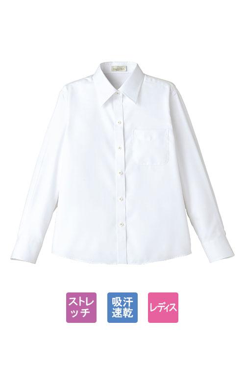 吸汗速乾長袖ブラウス【女性専用】(ホワイト)
