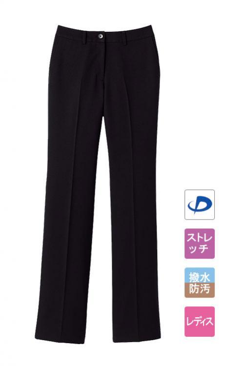 レディースノータックストレートパンツ【女性用】(ブラック)