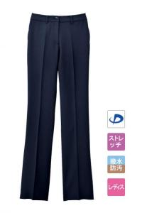 レディースノータックストレートパンツ【女性用】(ネイビー)