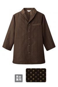 ショールカラー和風シャツ(七分袖)【男女兼用】(茶/小紋柄)