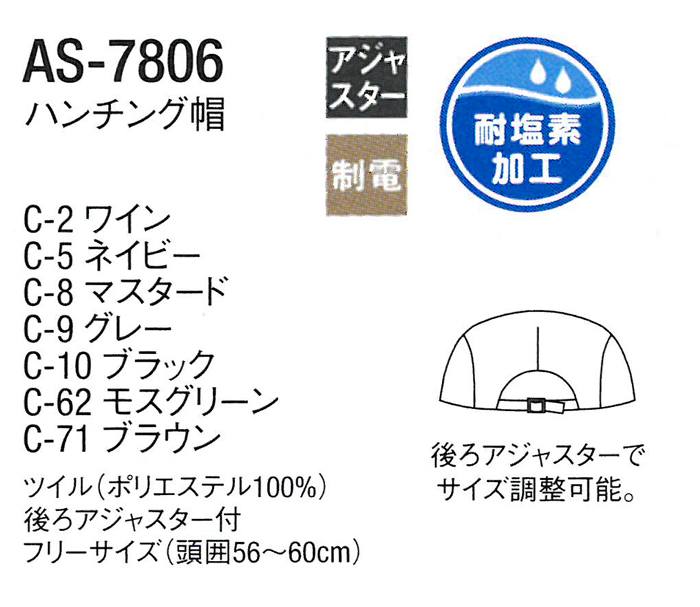AS7806耐塩素加工ハンチング素材説明画像