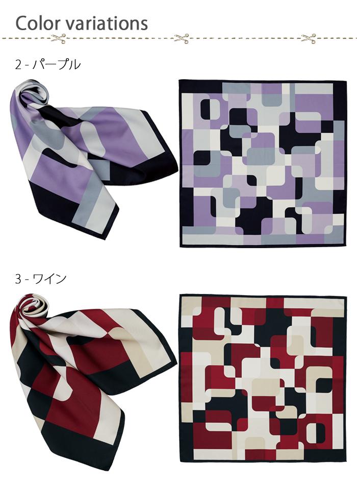 FA9460幾何学柄の上品サテンスカーフ【受付案内フロント・サービス制服】 カラー展開画像