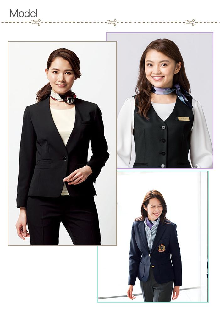 FA9460幾何学柄の上品サテンスカーフ【受付案内フロント・サービス制服】 モデル着用例