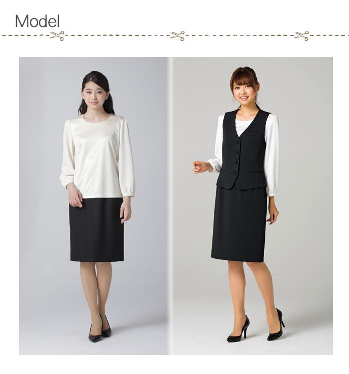 FB4033L光沢なめらか長袖カットソー[女性用](4色)  モデル着用例