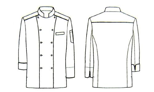 こだわり素材 高級長袖コックシャツ【男女兼用】<全3色> バックスタイル説明