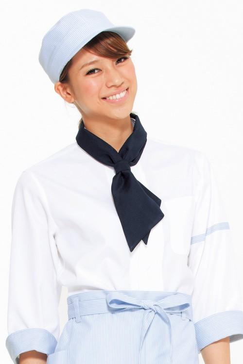 ストライプワンポイントがカワイイ コックシャツ<全4色>カフェ飲食店制服 コーデイメージ写真