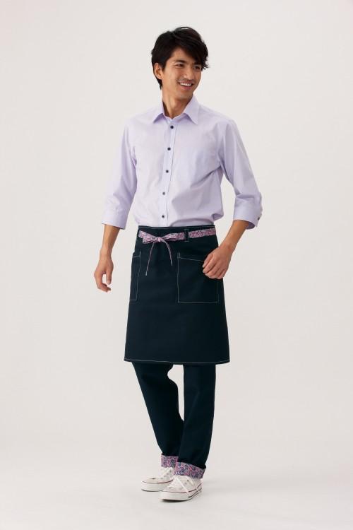 選べる10色お買い得シンプル無地七分袖ブロードシャツ【Unisex】モデル着用イメージ男性